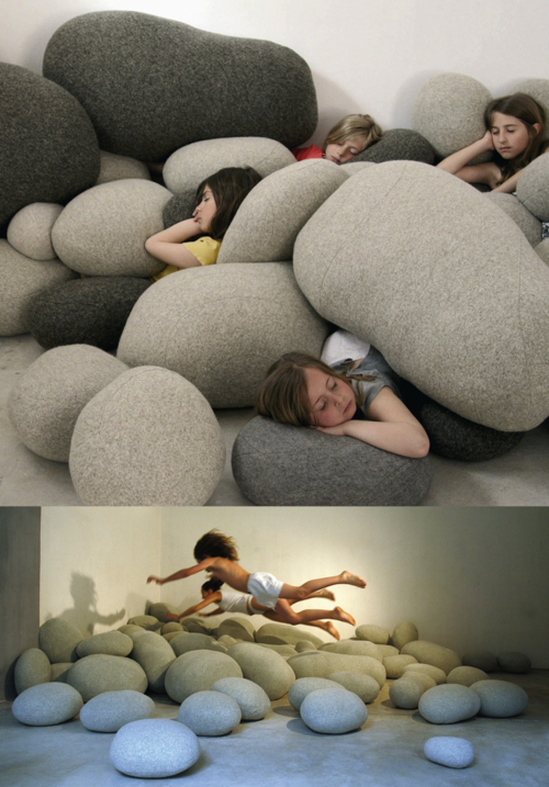rock pillows Stephanie Marin